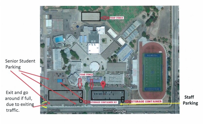 Image shows temporary parking plan for Ramona High School staff and seniors as work on solar project begins.