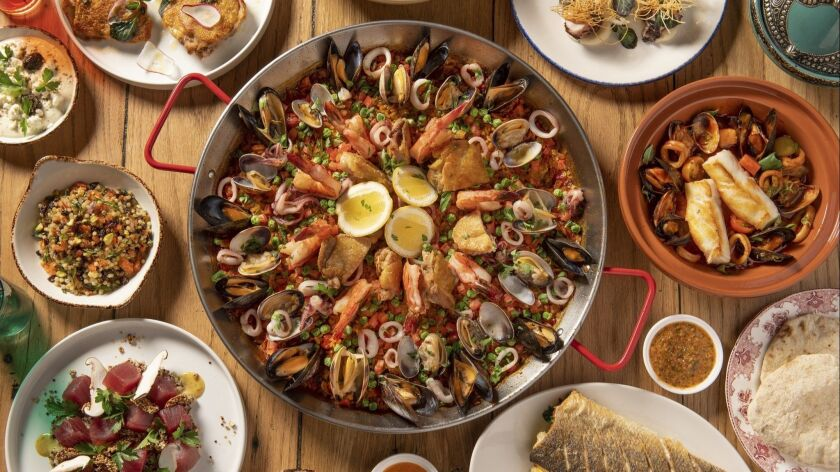 Saffron paella with chicken, mussels and shrimp