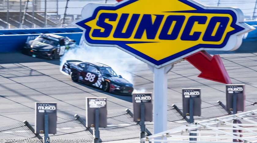 Chase Briscoe loses control in the Xfinity Series race
