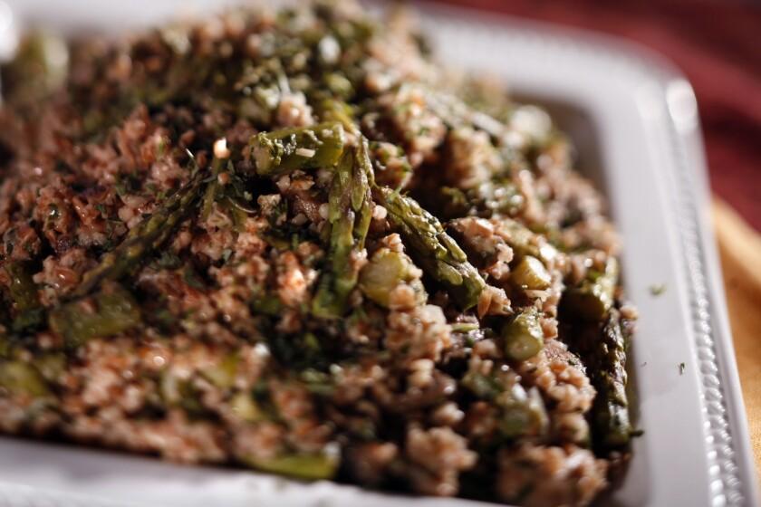 Bulgar wheat pilaf with asparagus, mushrooms and tarragon.