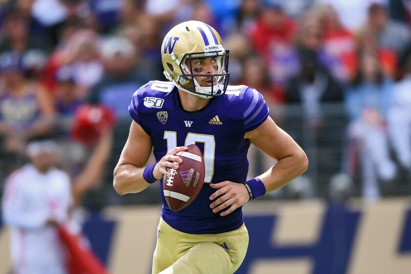 Washington quarterback Jacob Eason likely will pose a tough challenge for USC's defense on Saturday.