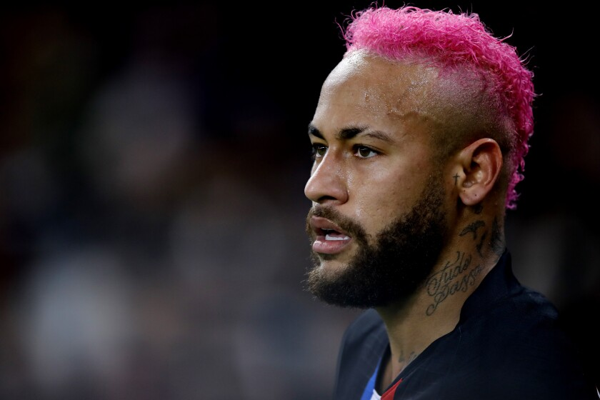 PSG's Neymar is seen during the French League One soccer match between Paris-Saint-Germain and Montpellier at the Parc des Princes stadium in Paris, Saturday Feb. 1, 2020. (AP Photo/Christophe Ena)