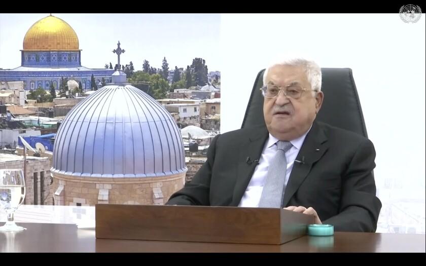 En esta foto tomada de un video, el presidente palestino Mahmoud Abbas habla remotamente en la 76ta sesión de la Asamblea General de la ONU en un mensaje pregrabado el viernes, 24 de septiembre del 2021. (ONU Web TV vía AP)