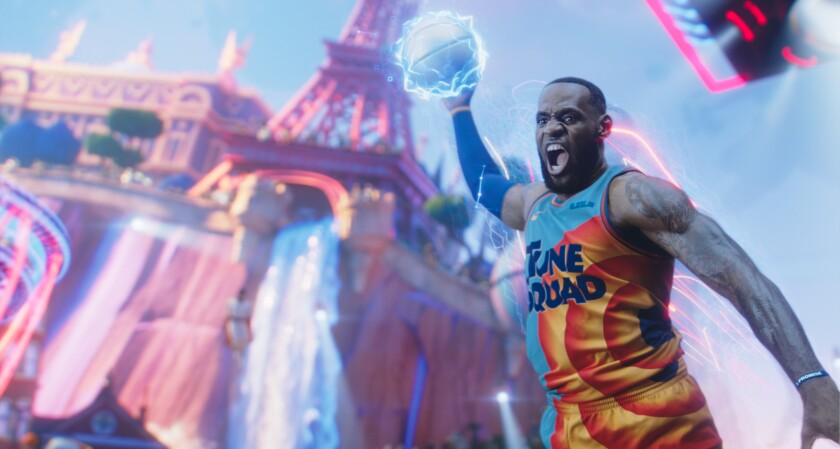 """LeBron James elevates for a dunk in an image released by Warner Bros. to promote """"Space Jam: A New Legacy."""""""