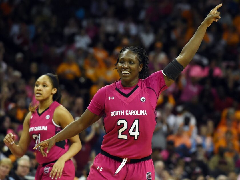 South Carolina forward Aleighsa Welch (24) reacts after a play during the second half of an NCAA college basketball game against Tennessee on Monday, Feb. 23, 2015 in Columbia, S.C. South Carolina won 71-66. (AP Photo/Rainier Ehrhardt)