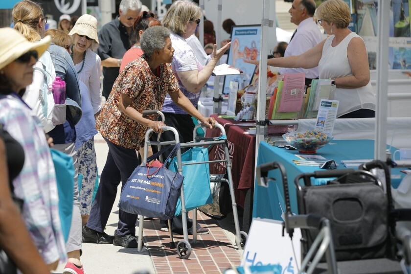 The booths were busy at the CaregiverSD Community Expo at Liberty Station in June for the nearly 4,000 people who visited.