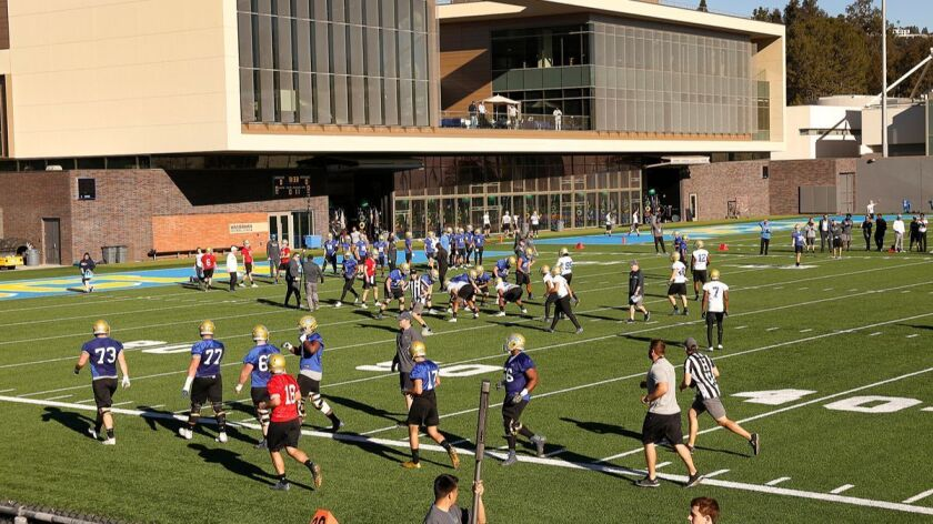 WESTWOOD, CA - MARCH 06, 2018 - UCLA football on the Spaulding practice field on the UCLA Westwood c