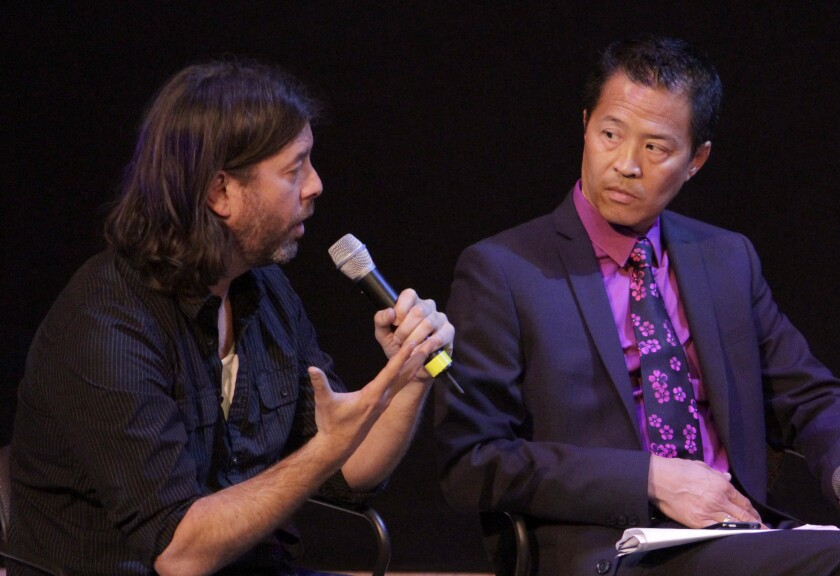 Moderator Michael John Garces, left, of the Cornerstone Theatre Company and Tim Dang of the East West Players, discussed diversity in theater back in 2013.