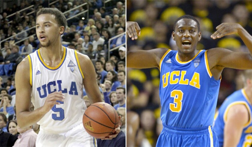 UCLA guards Kyle Anderson, left, and Jordan Adams were suspended for one game for violating unspecified team rules.