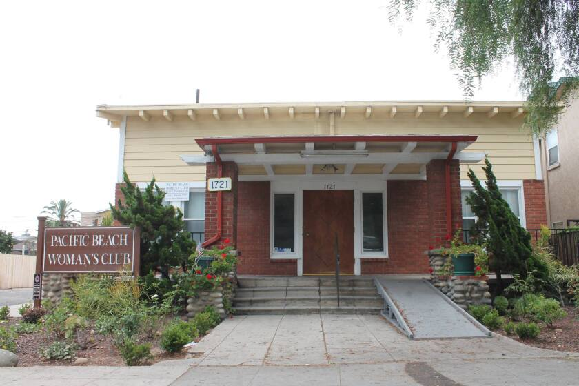 The Pacific Beach Woman's Club building is at 1721 Hornblend St.