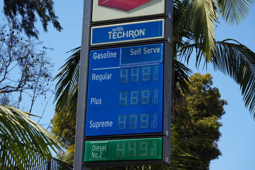 The price for gasoline at a local Chevon gas station near Little Italy on April 17, 2021.