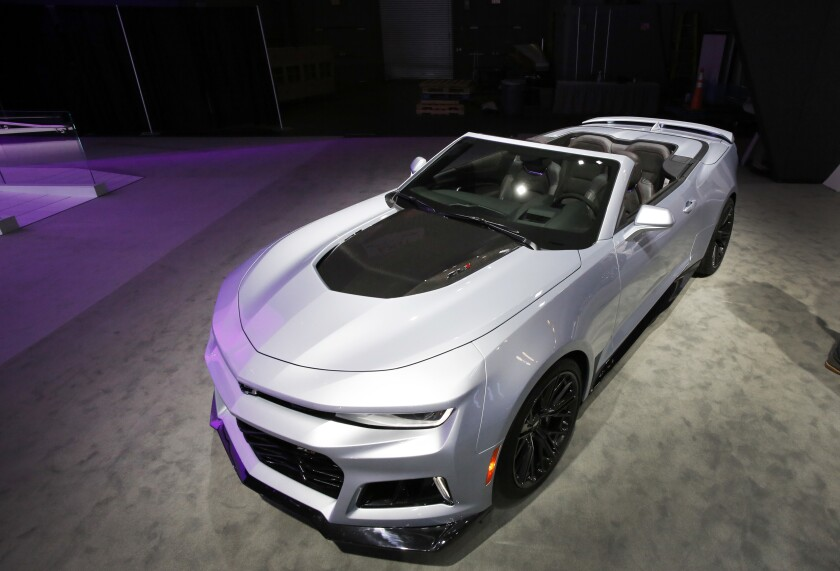 The 2017 Chevrolet Camaro ZL1 Convertible is shown at the New York International Auto Show