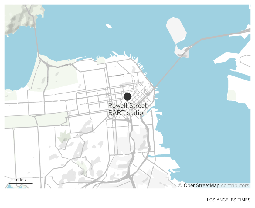 Map showing location of Powell Street BART station in San Francisco.