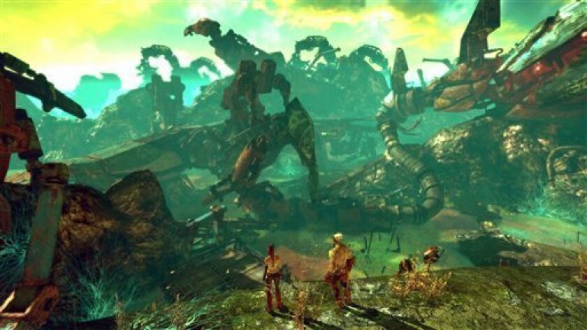 """In this video game image released by Namco Bandi, escaped slaves explore a postapocalyptic America in a scene from """"Enslaved: Odyssey to the West"""". (AP Photo/Namco Bandi)"""