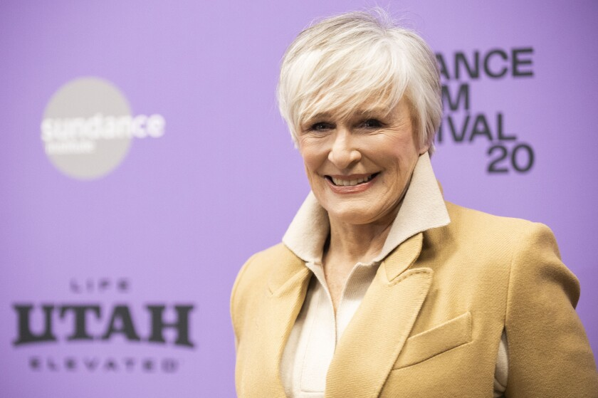 "FILE - Glenn Close attends the premiere of ""Four Good Days"" during the Sundance Film Festival on Jan. 25, 2020, in Park City, Utah. Close will receive an honorary AARP award for her work with a charity that brings awareness to mental illness. AARP announced Tuesday, Oct. 20, 2020, that Close will be the first to receive its honorary Purpose Prize Award during a virtual ceremony on Dec. 3. (Photo by Arthur Mola/Invision/AP, File)"