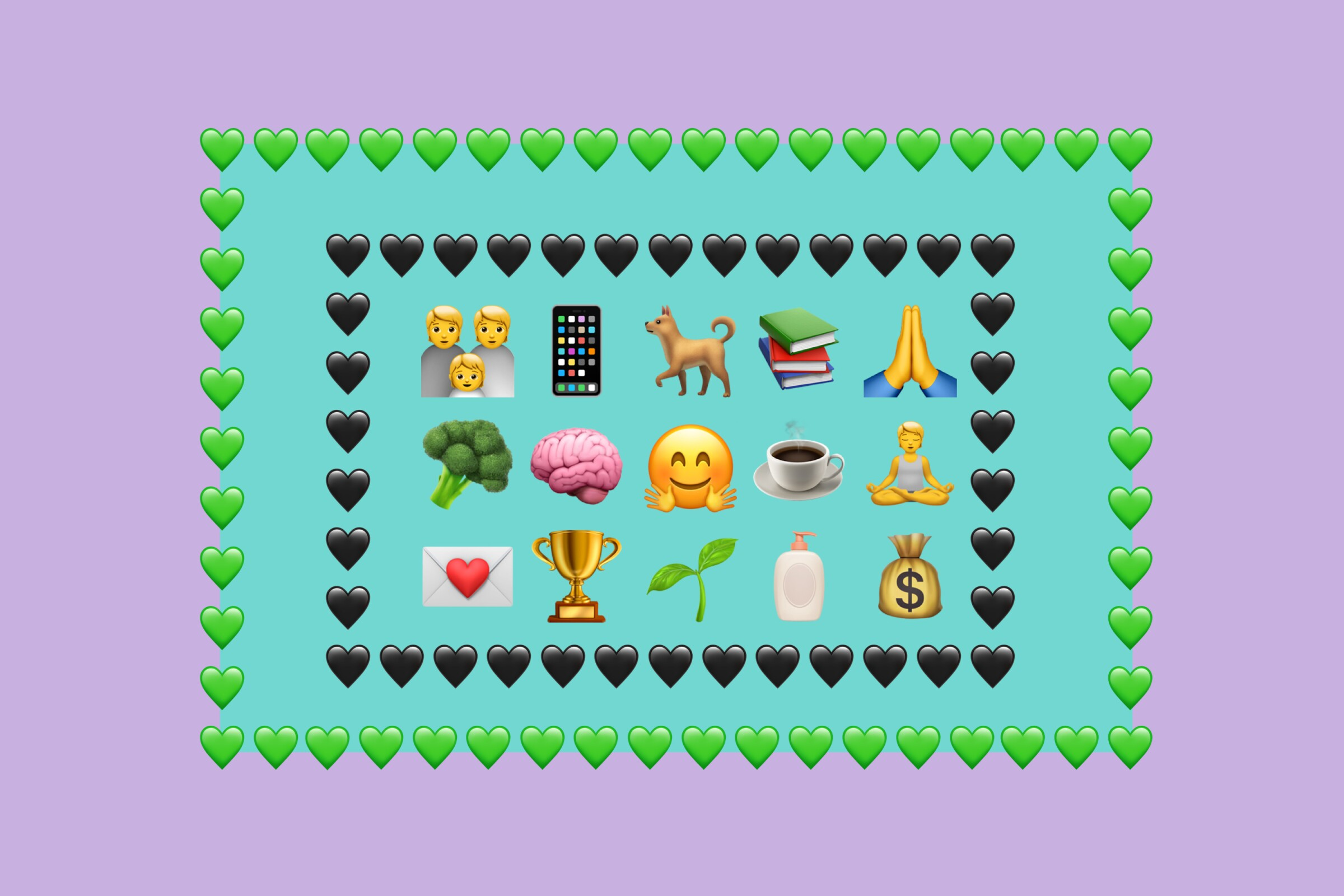 Heart emojis surrounding broccoli, brain, coffee, trophy and other emoji.