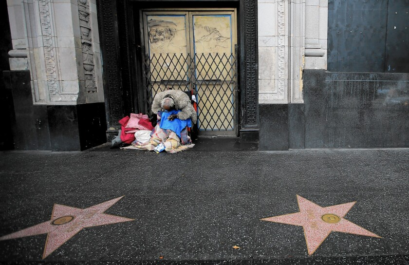 Homeless man in Hollywood