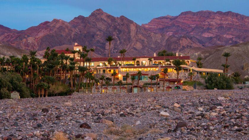The luxurious Furnace Creek Inn (soon to be the Inn at Death Valley) at dusk.