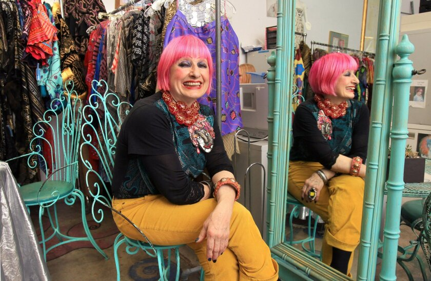 Zandra Rhodes in her Solana Beach Design District studio.