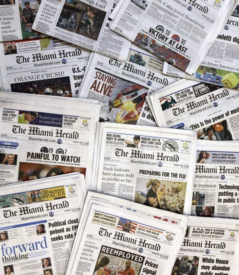 McClatchy Co., the publisher of the Miami Herald, Sacramento Bee and dozens of other local newspapers, is filing for bankruptcy protection.