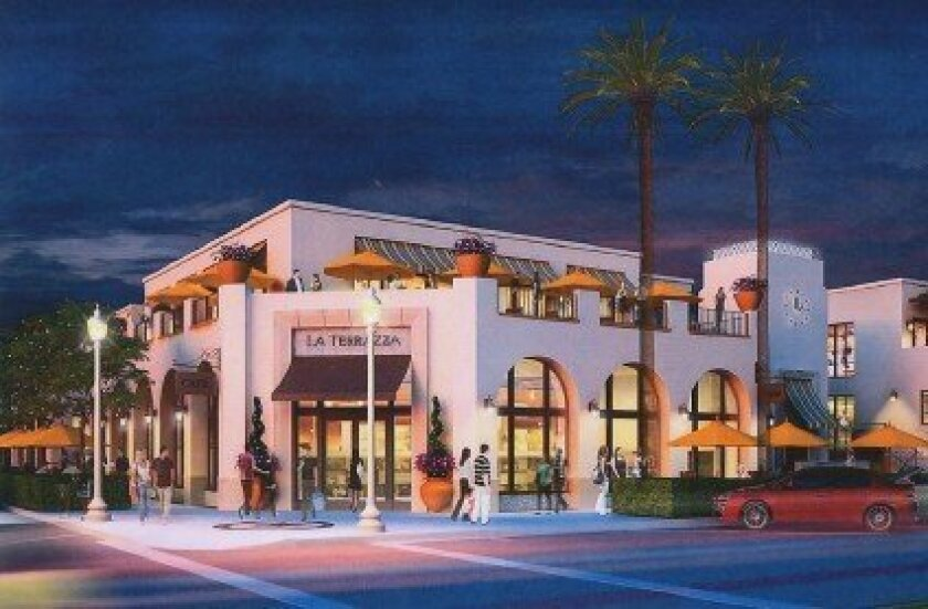 Artist rendering of La Plaza La Jolla luxury shopping center planned for the corner of Wall Street and Girard Avenue. The building, formerly occupied by Jack's La Jolla, has sat vacant since the once-popular Jack's complex folded in 2009 amid an embezzlement scandal.  Courtesy