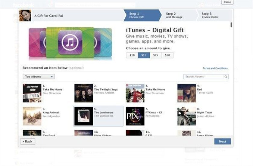 Facebook Gifts Adds Itunes Digital Gift Cards To Catalog Los Angeles Times