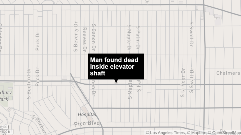 Police said a man was found dead inside a Beverly Hills apartment elevator shaft.