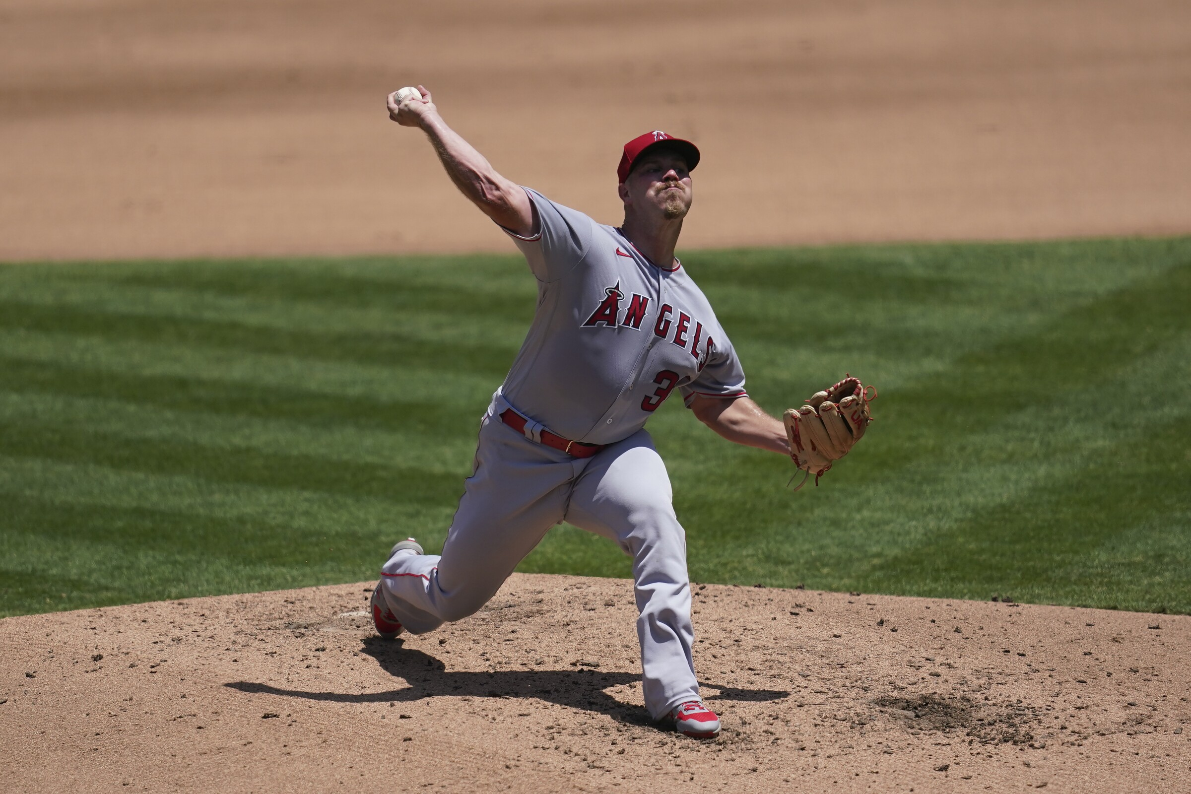 Angels pitcher Dylan Bundy throws against the Oakland Athletics on July 25.