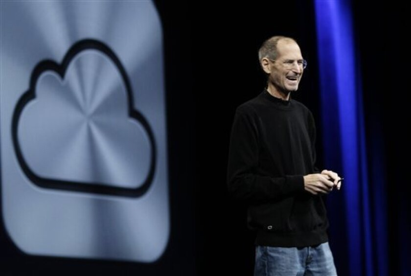 Apple CEO Steve Jobs during a keynote address to the Apple Worldwide Developers Conference in 2011.