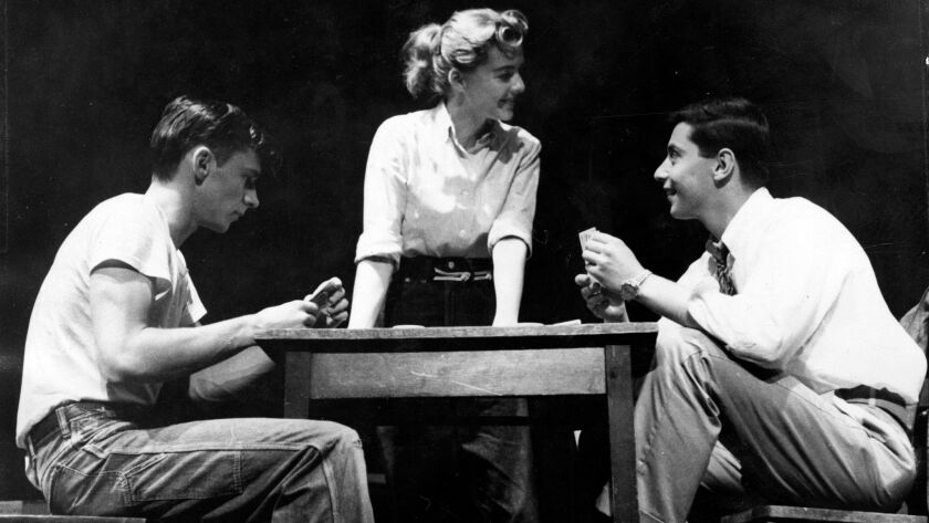 """Patricia Bosworth, center, in the play """"Blue Denim"""" in 1955. The play was about an abortion, but it only mentioned the word once."""