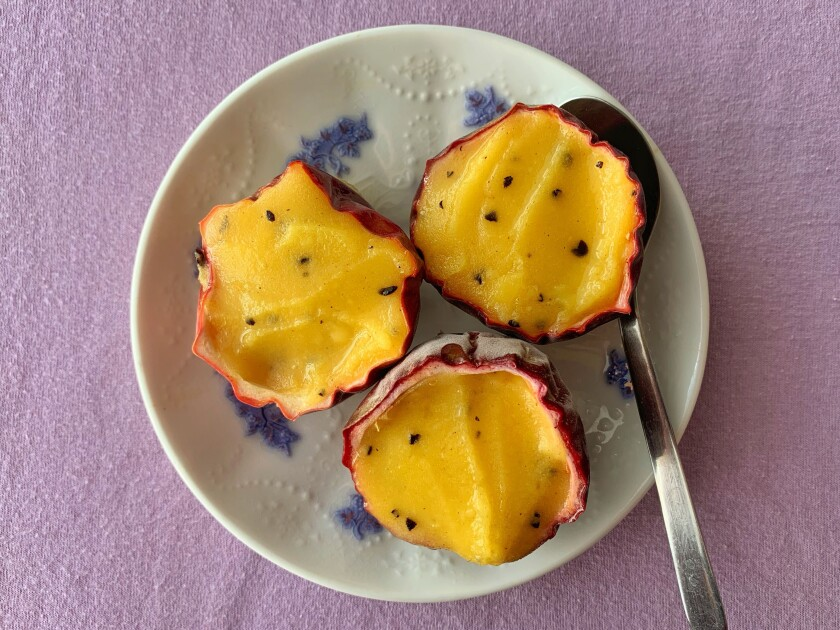 The tang of passion fruit is ideal for an ice-cold sorbet to help you cool off in a heatwave.