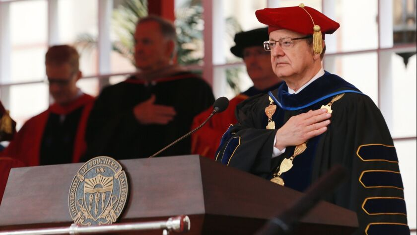 USC president Max Nikias attends The University Of Southern California's Commencement Ceremony at Alumni Park at USC on May 11.