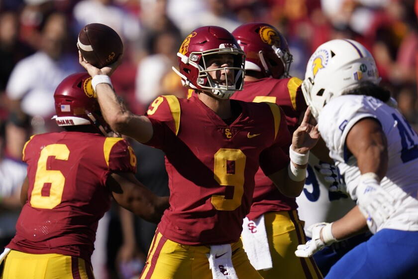 USC quarterback Kedon Slovis throws a pass during the second against San Jose State.