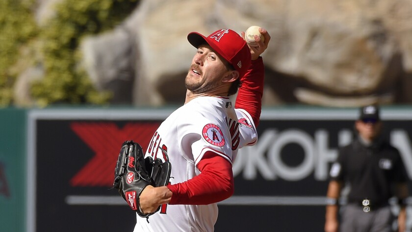 Angels starting pitcher Griffin Canning throws against the Houston Astros on Aug. 1.