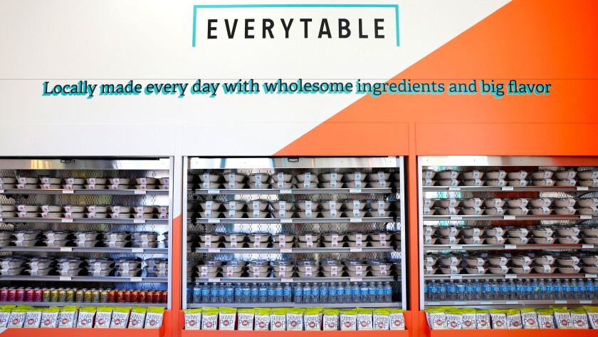 A selection of grab-and-go food is seen at Everytable in South Los Angeles.