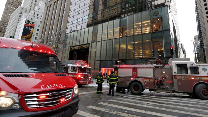 The New York Fire Department responded to a fire at Trump Tower on Jan. 8, 2018.