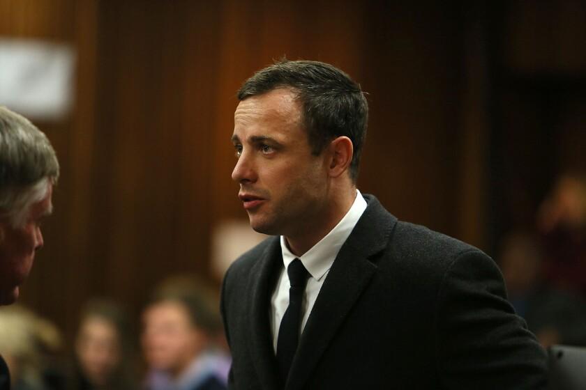 Oscar Pistorius during his murder trial in Pretoria, South Africa.