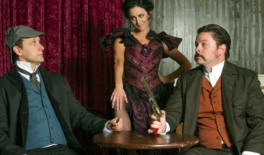"""Jason Maddy, Katie Karel and Richard Baird in North Coast Rep's """"Sherlock Holmes and the Adventure of the Great Nome Gold Rush."""""""