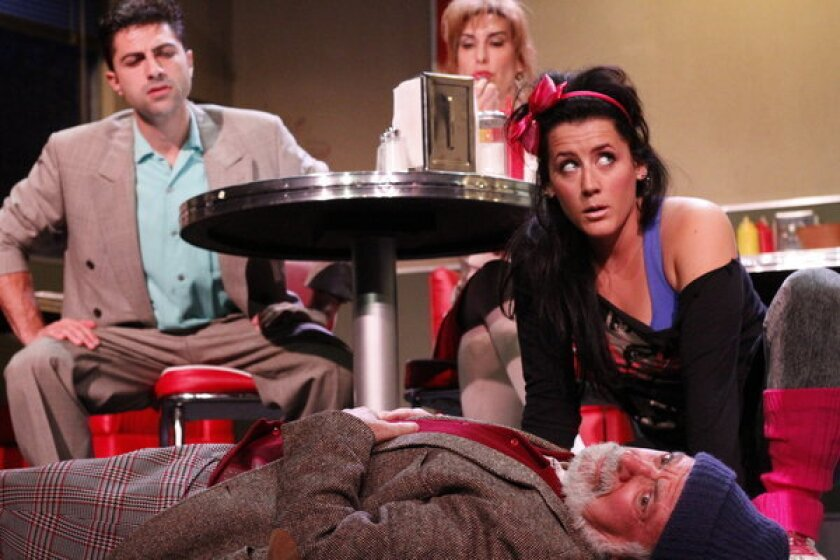 """The cast of """"86'd"""": Alan Ehrlich, foreground, and, from left, Lucan Melkonian, Julianna Bolles and Jamie Kerezsi."""