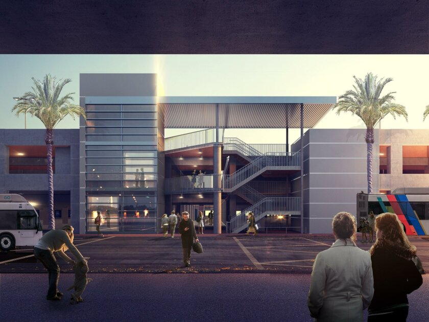 This rendering shows one of the pedestrian access points in the new Terminal 2 Parking Plaza garage.