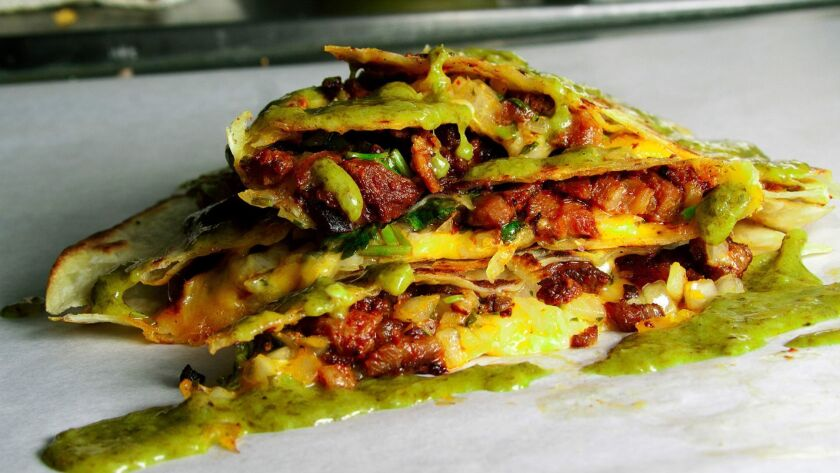 Handout photo of the Blackjack Quesadilla which is on the Kogi BBQ menu.