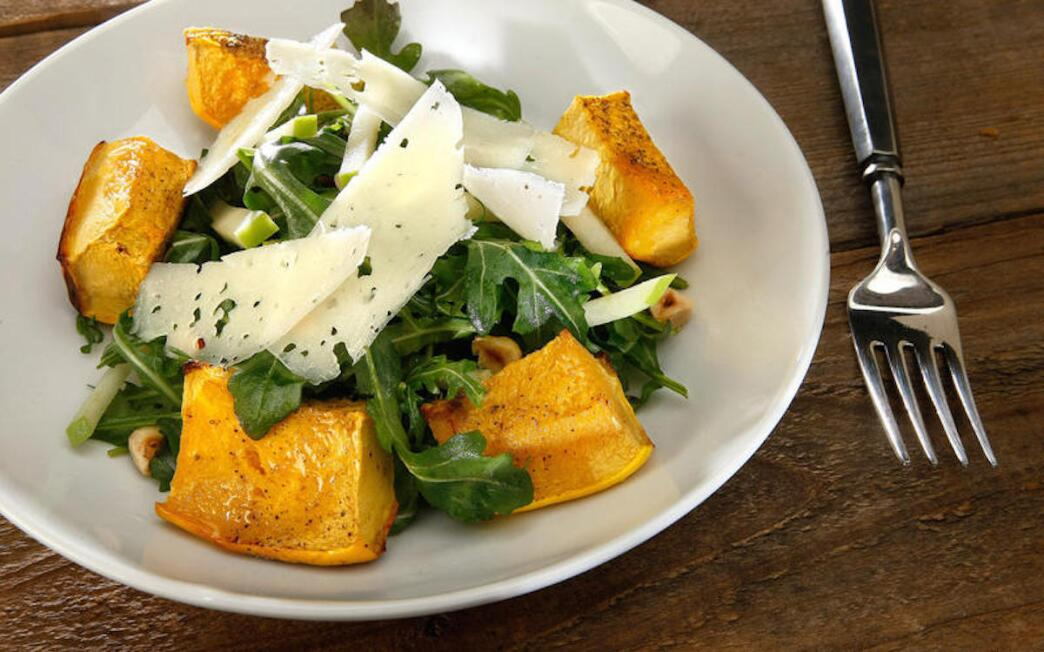 Winter squash risotto with walnuts and fried sage leaves