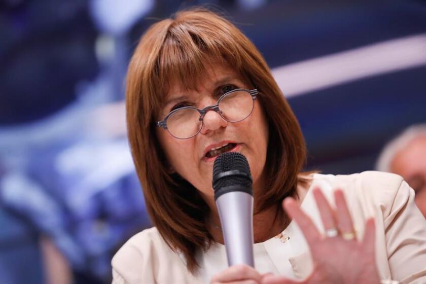 En la imagen un registro de la ministra argentina de Seguridad, Patricia Bullrich, quien aseguró que la ley para endurecer las penas a los ultras violentos se votará en la próxima sesión extraordinaria del Congreso. EFE/Archivo