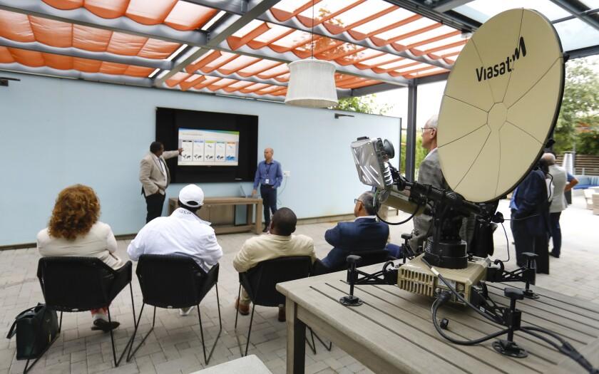 Viasat demonstrates satellite Internet technology.