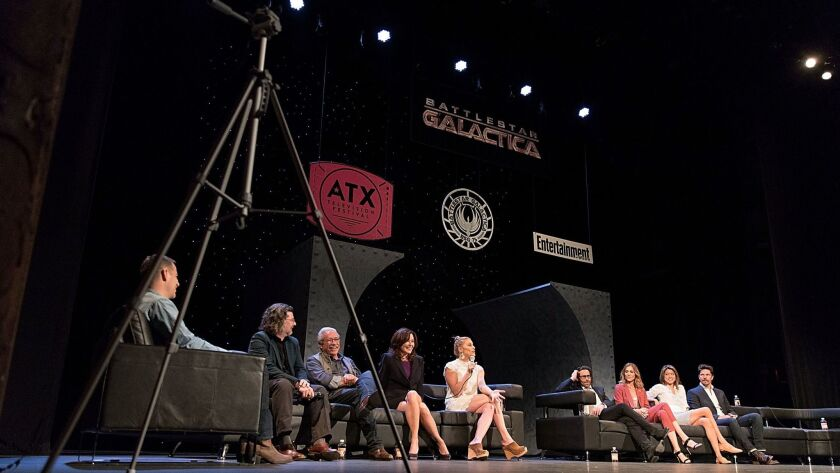 Moderator James Hibberd, from left, Ronald D. Moore, Edward James Olmos, Mary McDonnell, Katee Sackh