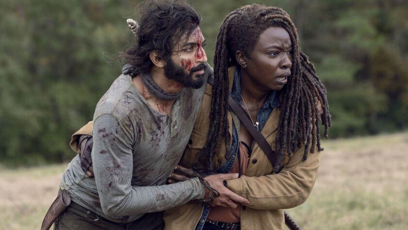 Avi Nash as Siddiq, Danai Gurira as Michonne- The Walking Dead _ Season 9, Episode 15 - Photo Cred