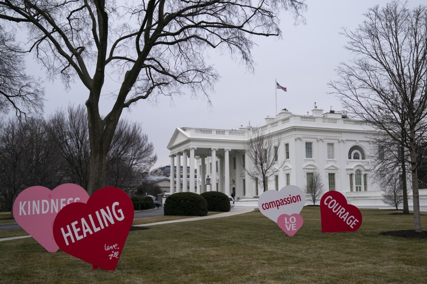 Decorations sit on the North Lawn of the White House, Friday, Feb. 12, 2021, in Washington. (AP Photo/Evan Vucci)