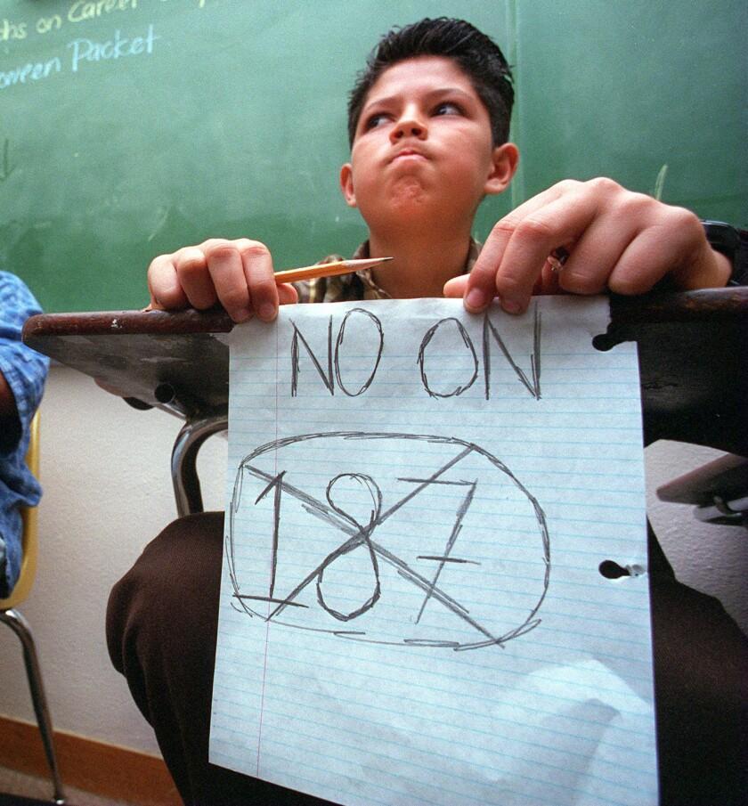 A middle schooler in Lennox, Calif.