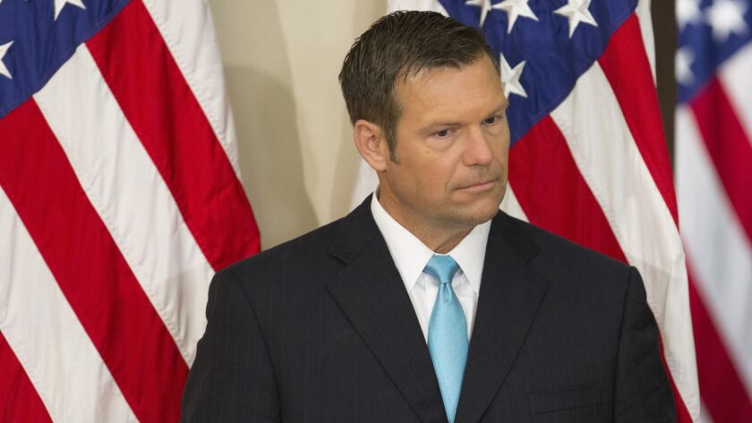 Kansas Secretary of State Kris Kobach attends the first meeting of the Presidential Advisory Commission on Election Integrity at the White House on July 19, 2017.