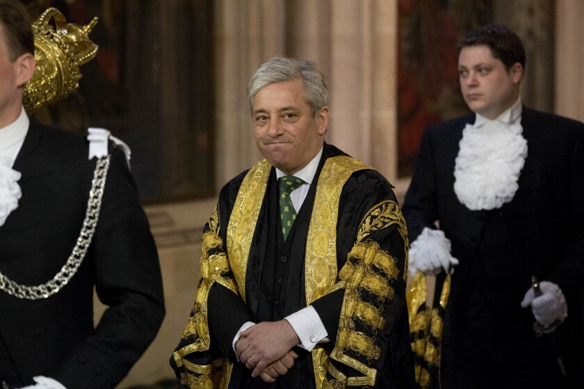 A Wednesday, June 4, 2014 file photo of Britain's Speaker of the House of Commons John Bercow as he walks through Central Lobby before Britain's Queen Elizabeth II delivered the Queen's Speech at the State Opening of Parliament at the Palace of Westminster in London.